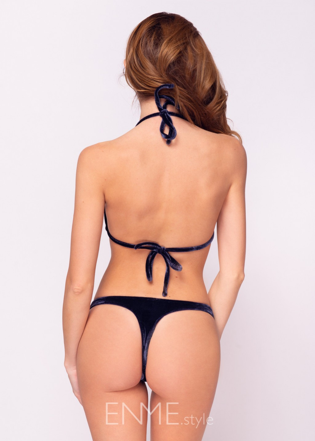 Velvet Navy Blue Triangle Top and String Thong