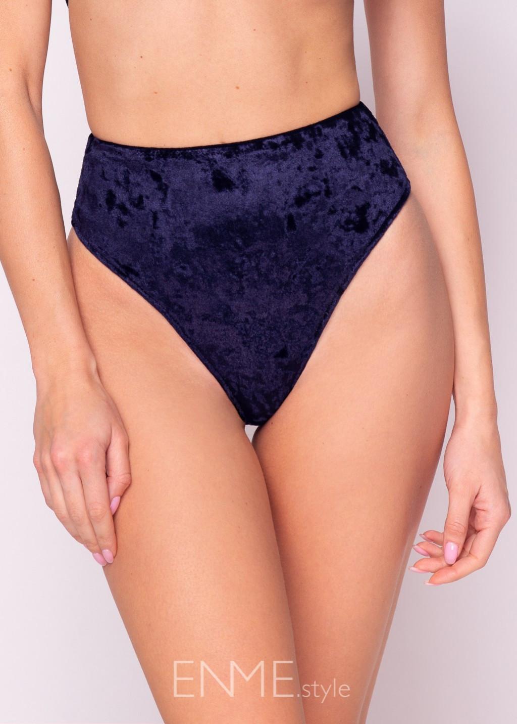 Velvet Navy Blue High-leg High Waist Bikini