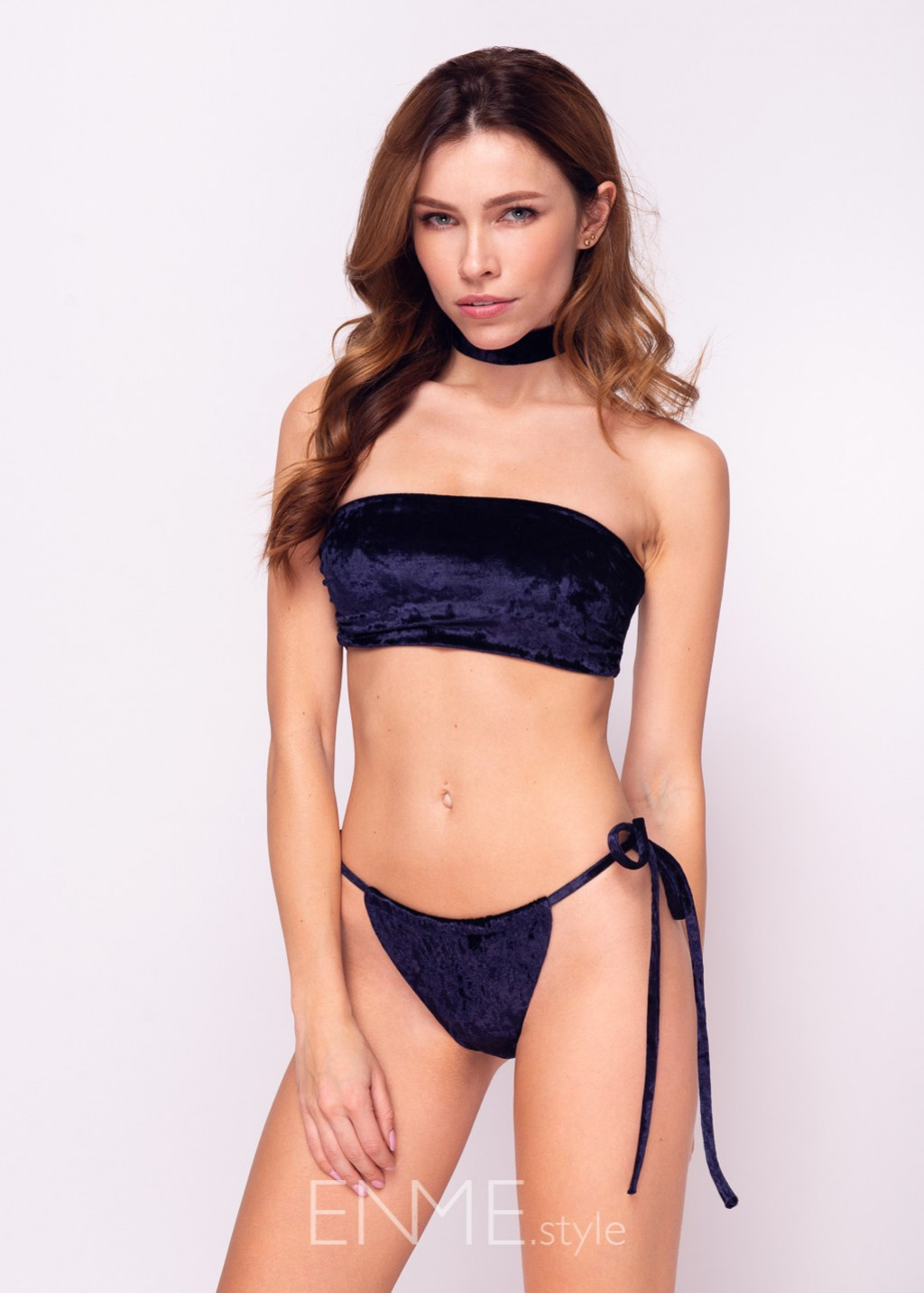 Velvet Navy Blue Bandeau Top With Choker And Side Tie Slide Tanga