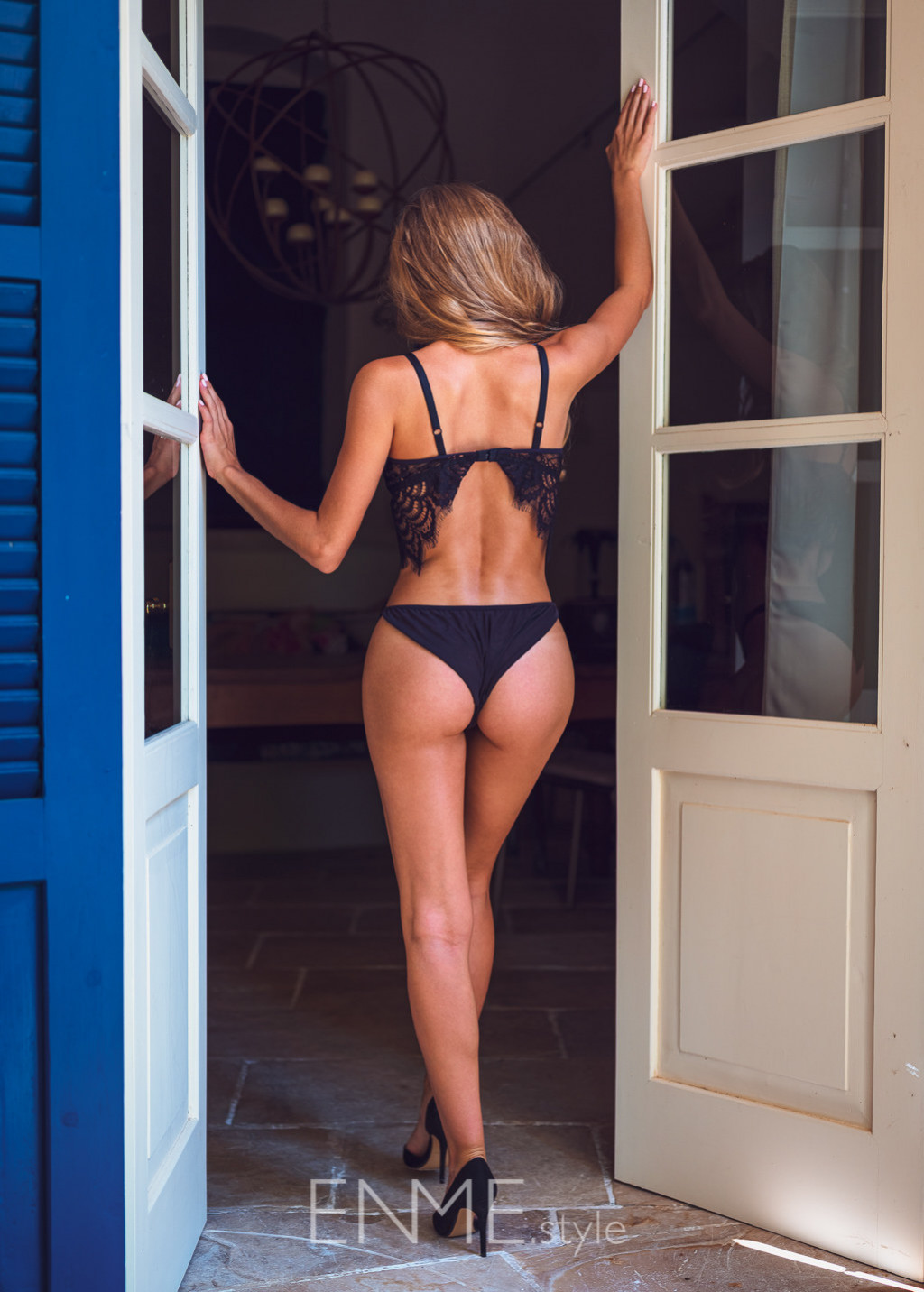 Black Mesh And Lace Balconette And Tanga
