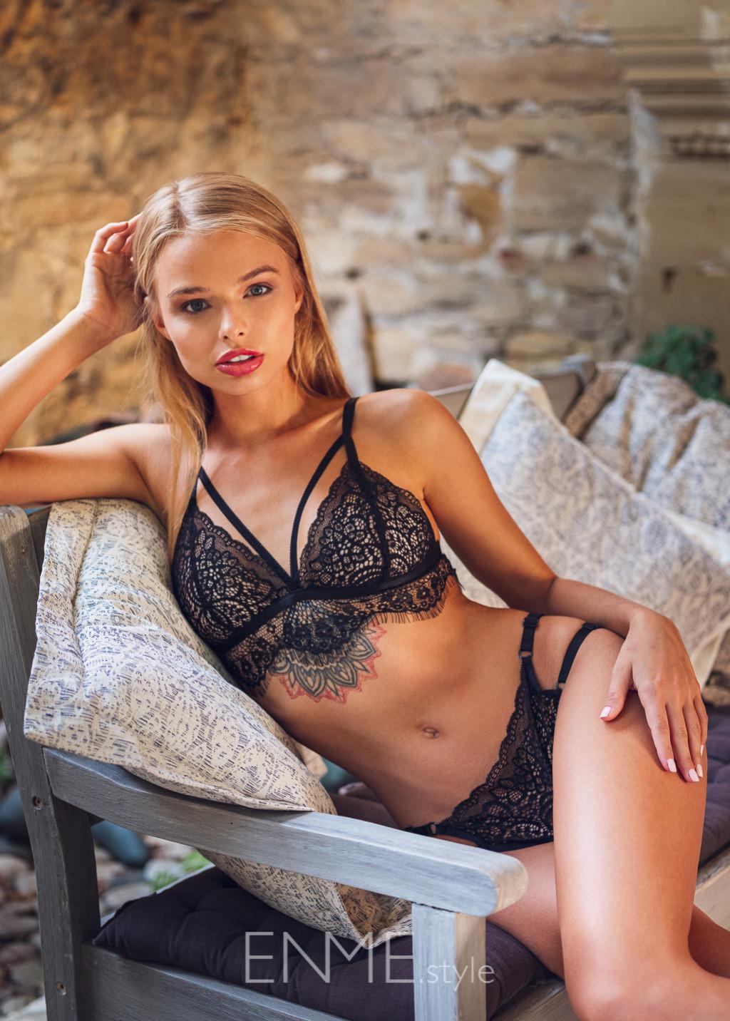 Black Strappy Bralette And Bikini In Lace