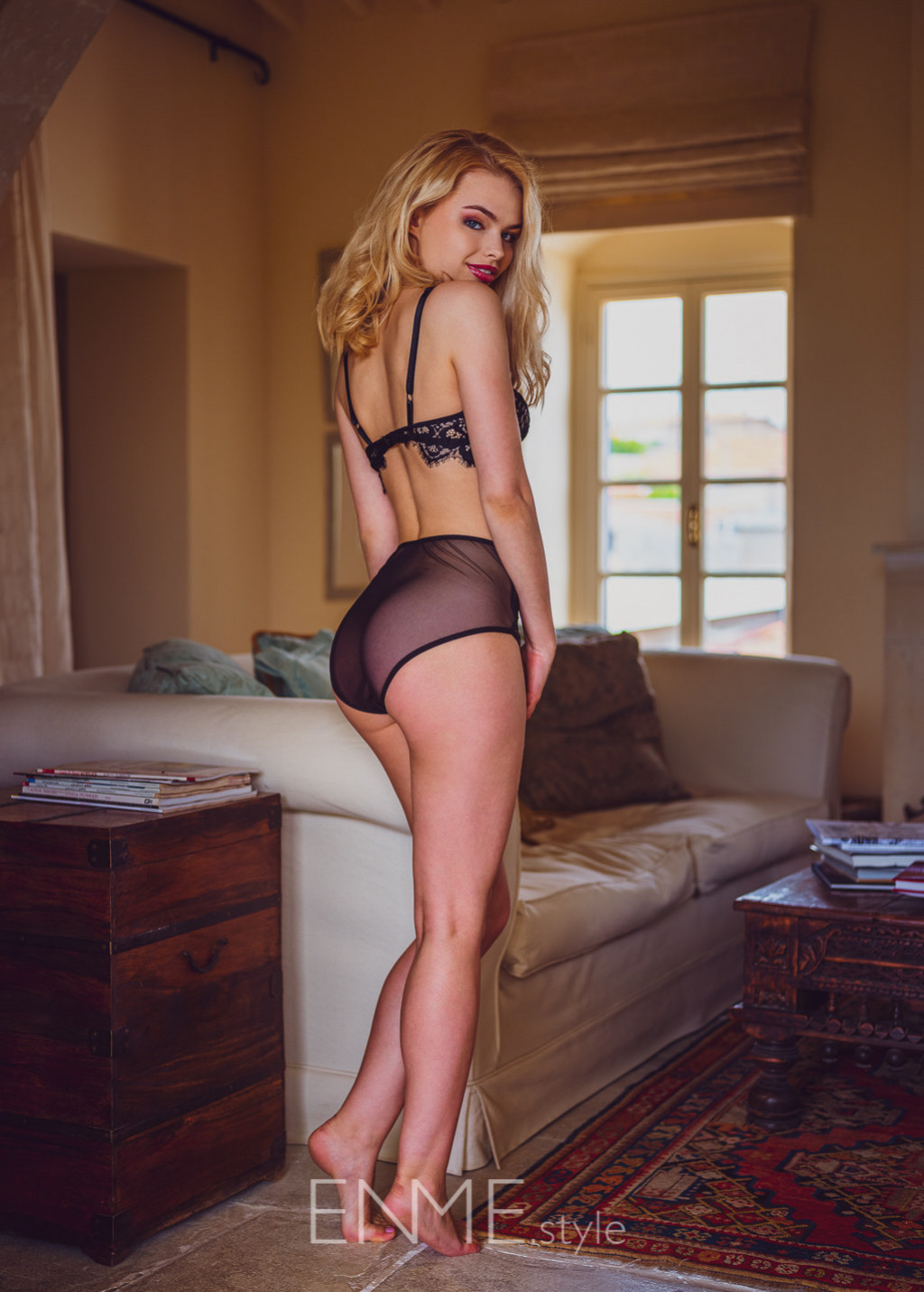 Black Balconette In Lace And High Waist Bikini