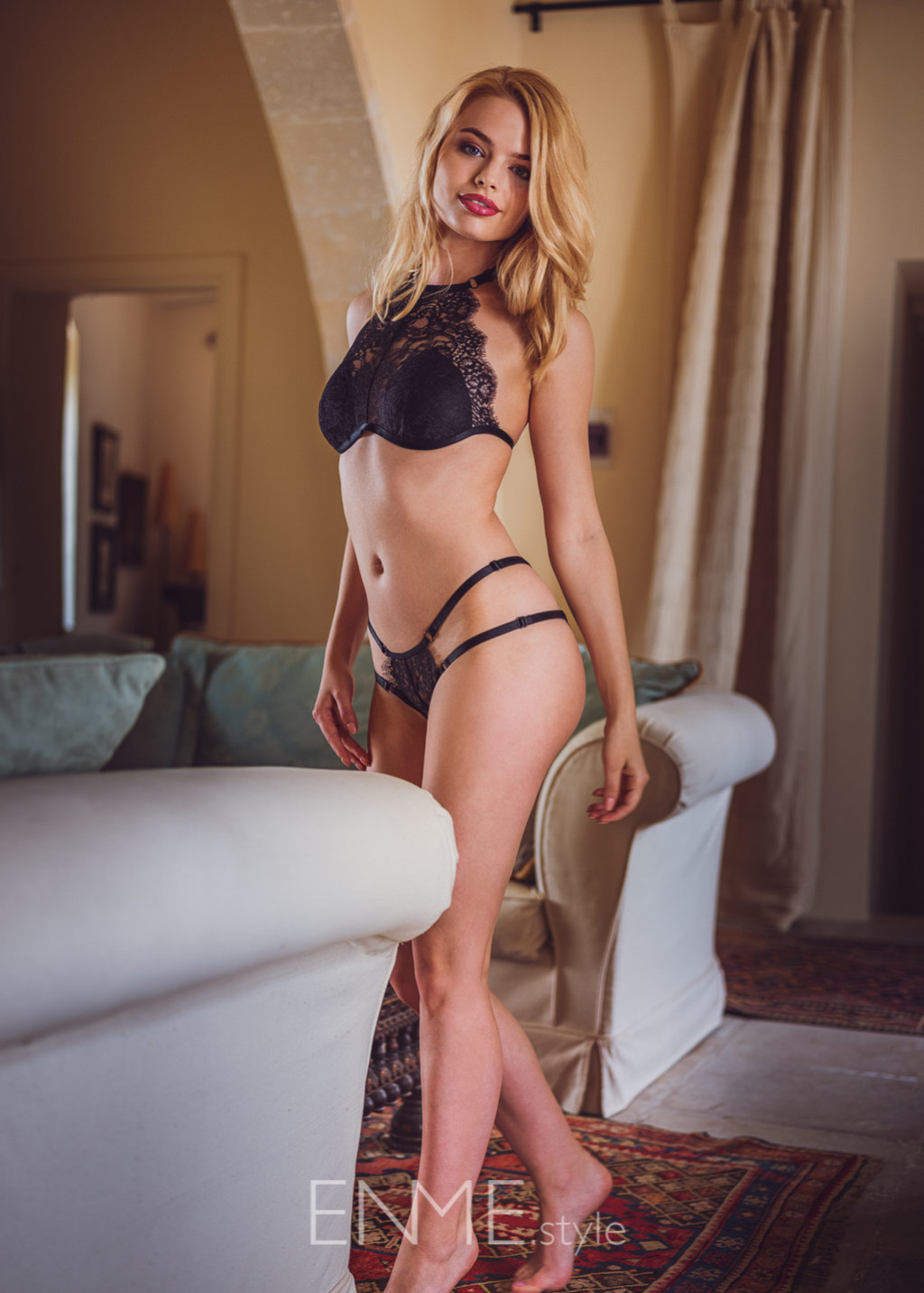 Black Halter Bralette And Tanga In Lace