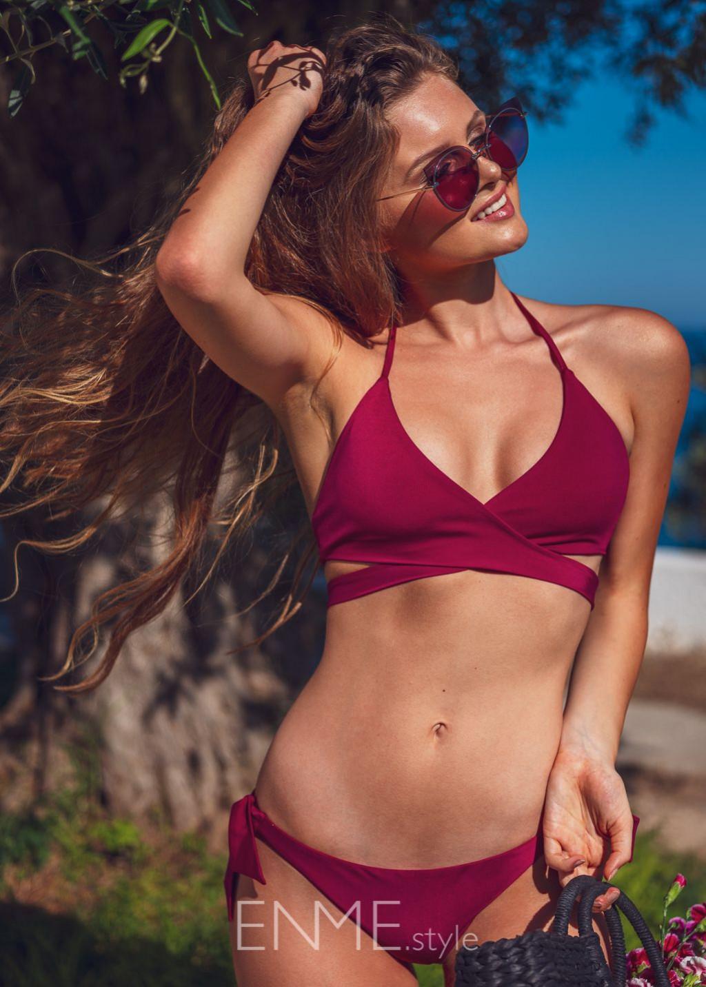 Burgundy Wrap Halter Top And Side Tie Bikini