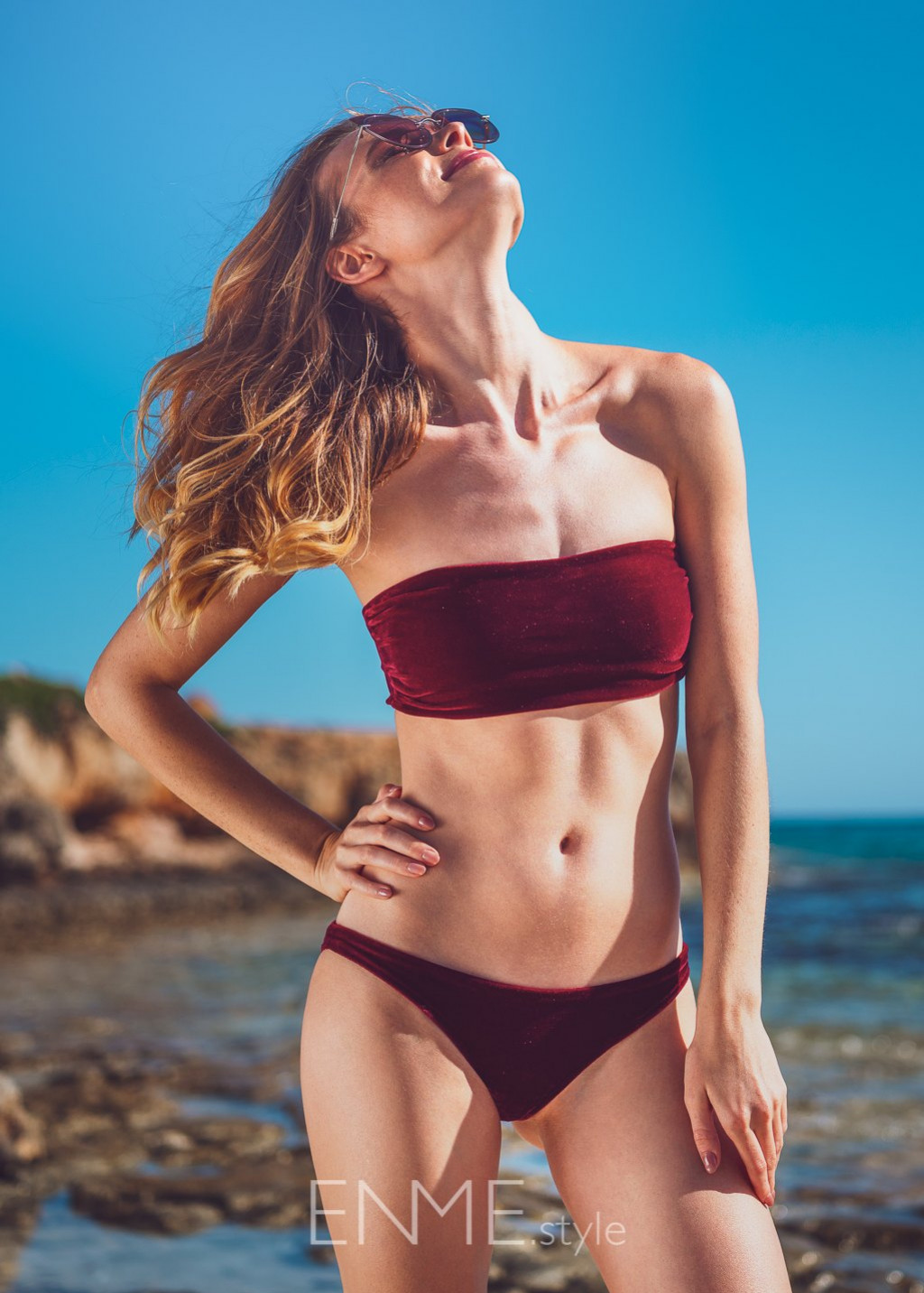Velvet Burgundy Bandeau Top And Bikini