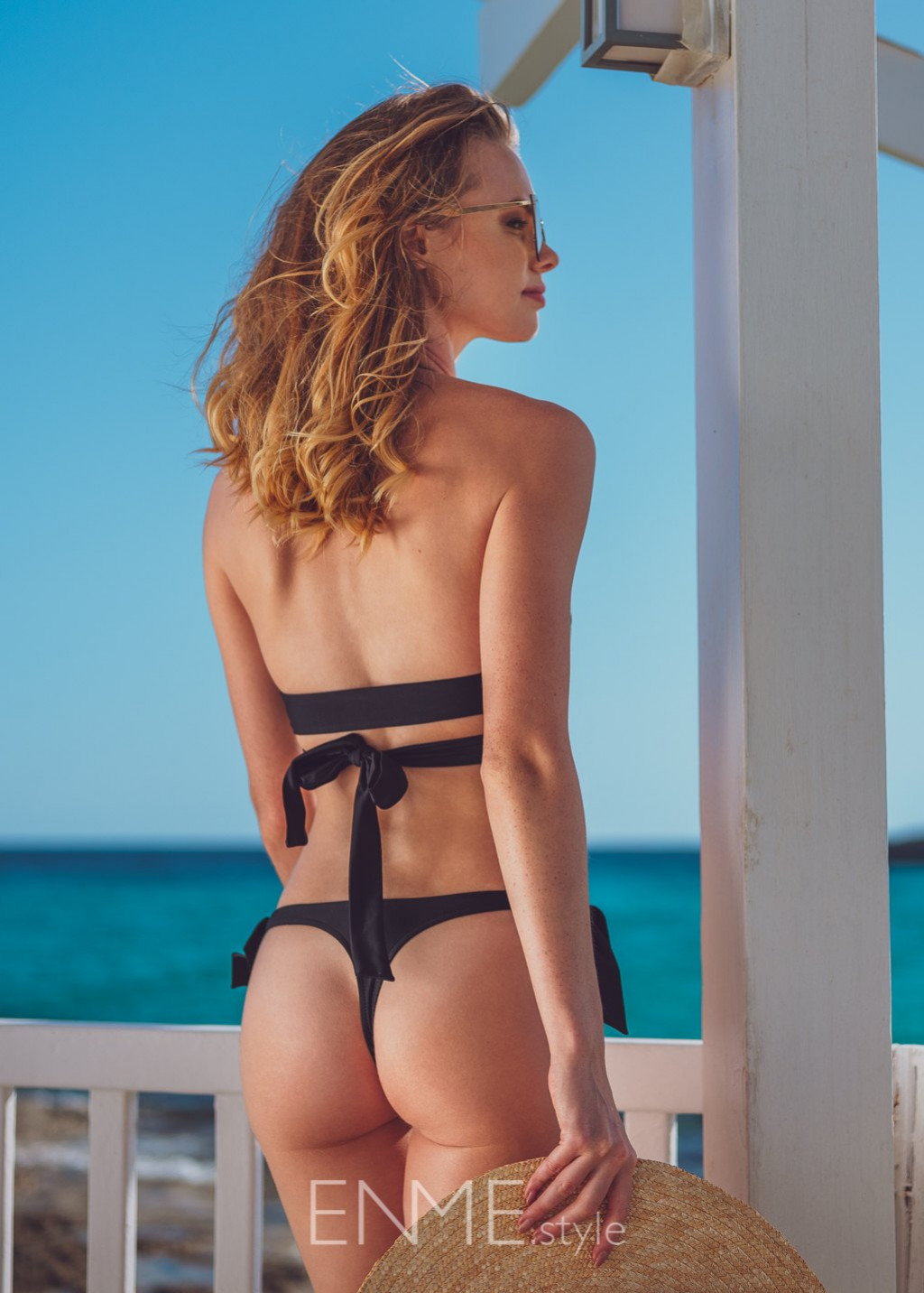 Black Wrap Halter Top And Side Tie String Thong