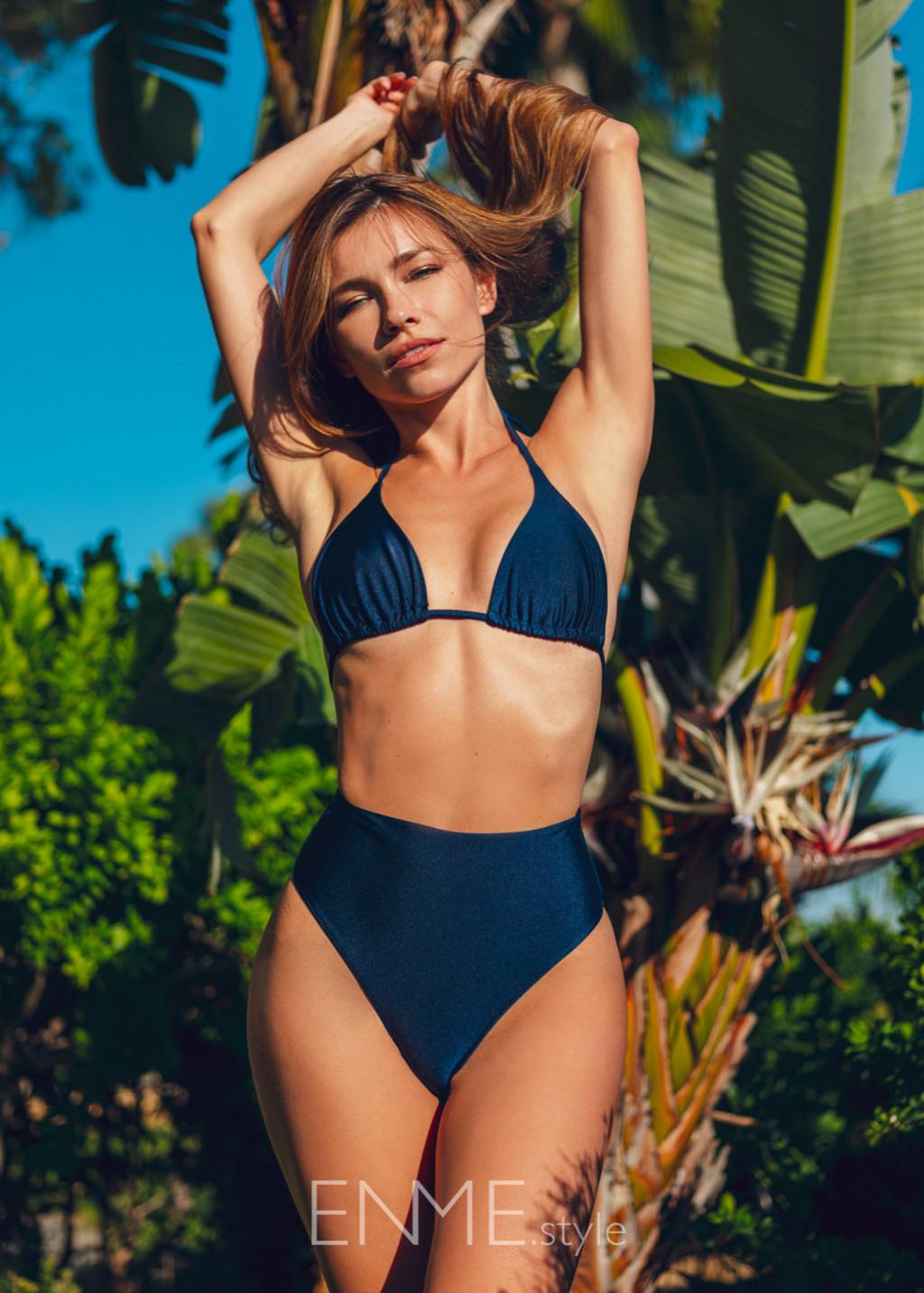 Navy Blue Slide Triangle Top And High-leg High Waist Bikini