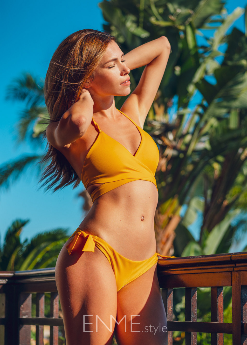 Yellow Wrap Halter Top And Side Tie Bikini