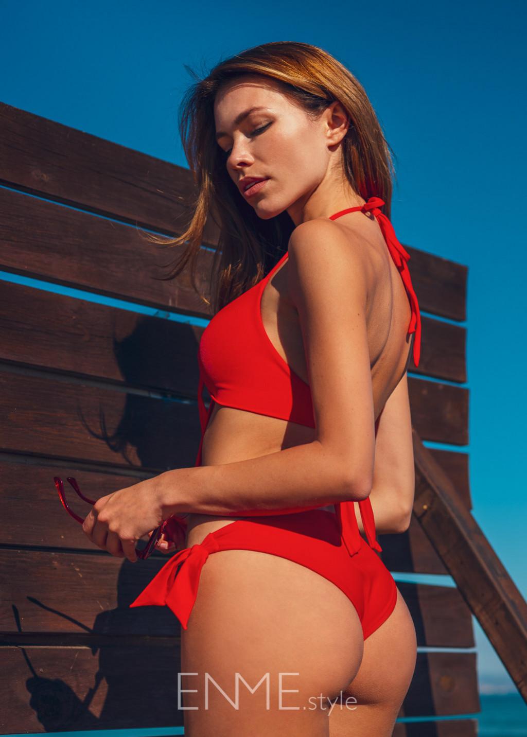 Red Front Tie Halter Top And Side Tie Bikini