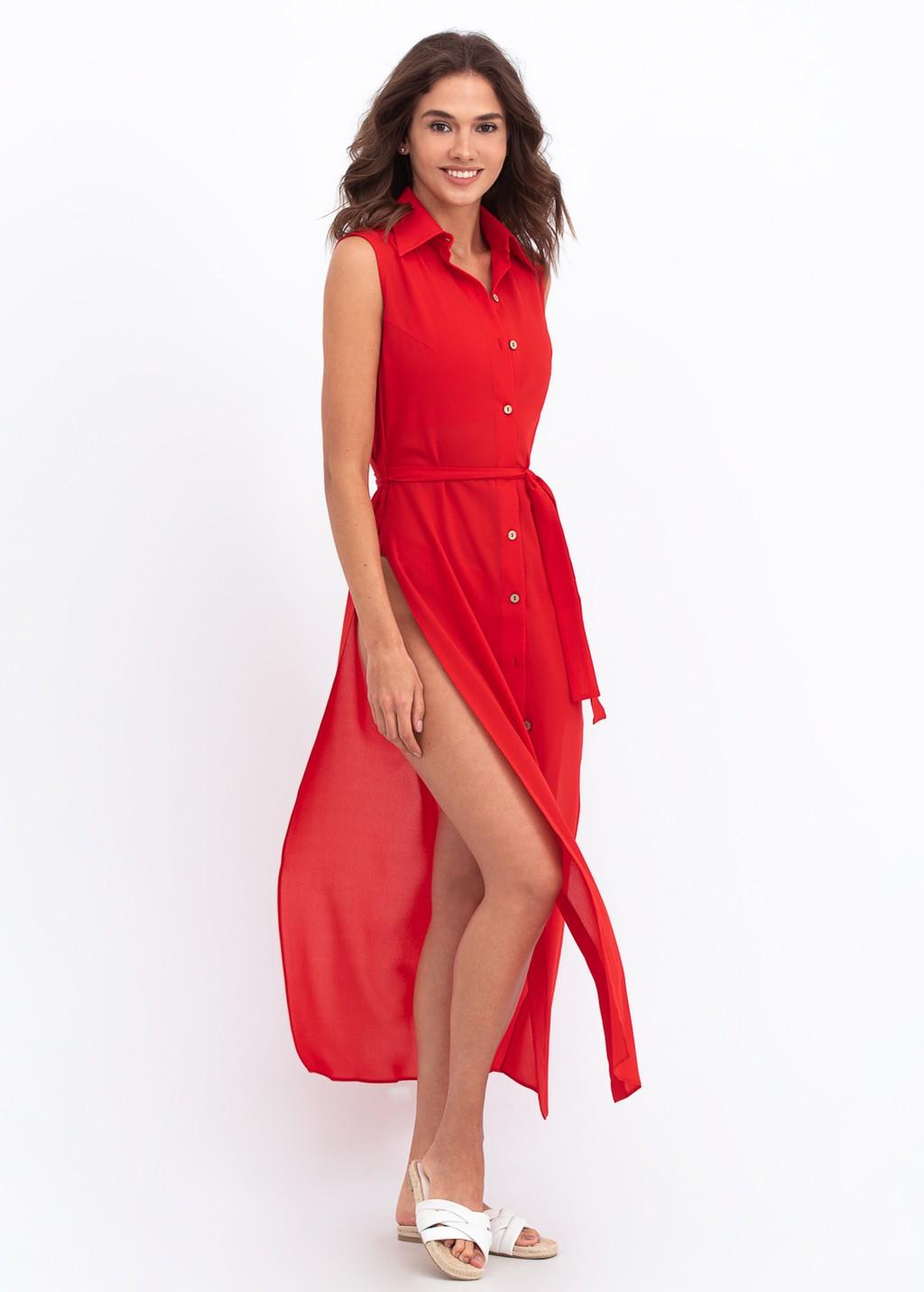 Red chiffon leisure dress